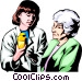 Woman with prescription Vector Clipart image
