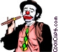 Clown with cigar Vector Clipart illustration