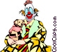 Clown with puppy Vector Clipart picture