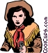 Cowgirl with a gun Vector Clip Art image