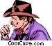 Cowboy smoking Vector Clip Art image