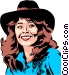 Cowgirl smiling Vector Clip Art picture