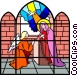 Stained glass window Vector Clip Art graphic