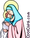 Blessed Virgin & Child Vector Clipart illustration