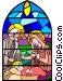 Nativity Scene stained glass Vector Clipart graphic