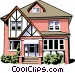Single family home Vector Clip Art image