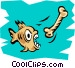 Fish eating bone Vector Clipart picture