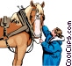 Horse and Woman Vector Clipart image