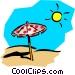 Sun & umbrella Vector Clip Art image