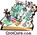 Arkansas vignette map Vector Clipart illustration