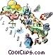 Florida vignette map Vector Clip Art graphic