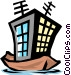 Boat with antennas Vector Clipart illustration