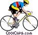 Cyclist on ten speed bike Vector Clip Art image