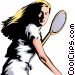 Tennis woman Vector Clipart illustration