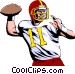 Quarterback throwing ball Vector Clipart graphic