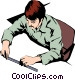 Man with a ruler Vector Clipart illustration