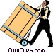 Man with wooden crate Vector Clipart image