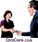 Woman handing over credit card Vector Clipart graphic