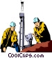 Oil rig workers Vector Clipart image