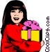 Little girl with gift Vector Clip Art picture