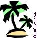 Tropical island Vector Clip Art image