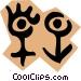 Male & female symbols Vector Clipart illustration