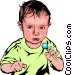 Baby with candy Vector Clip Art image