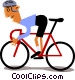 Cyclist racing Vector Clipart image