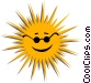 The Sun with sunglasses Vector Clip Art graphic