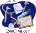 Stethoscope with syringe and Vector Clipart illustration
