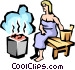 Sauna lady Vector Clipart graphic