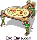 Men loading pizza into oven Vector Clip Art graphic