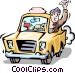 Taxi cab driver Vector Clipart image