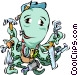 Octopus repairman Vector Clipart image