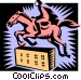 horse jumping Vector Clipart image