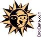 Sun face Vector Clip Art graphic
