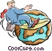 Businessman surfing the world Vector Clip Art picture