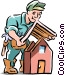 Roofer installing roof Vector Clip Art picture