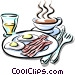 breakfast of bacon & eggs with coffee Vector Clip Art image