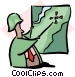 man pointing to map Vector Clipart illustration