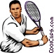 Male tennis player Vector Clipart image