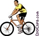 Man on bicycle Vector Clipart graphic