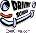 driving school sign Vector Clipart illustration