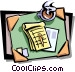 desktop with coffee cup and Vector Clipart picture