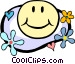 happy face in flower power Vector Clipart picture