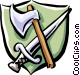 axe and sword Vector Clipart illustration