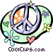 peace sign with flower power symbols Vector Clipart graphic