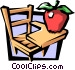 School desk with apple Vector Clipart graphic