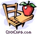 school desk with apple Vector Clip Art image