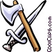 axe and sword Vector Clip Art image